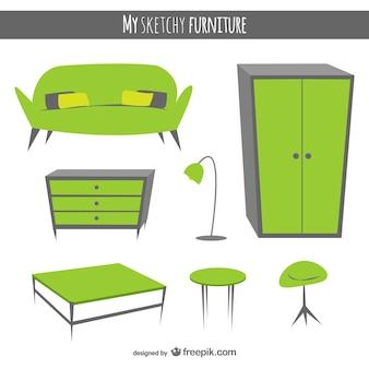Hand getekende meubels vectoren