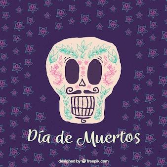 Hand getekende mexicaanse schedel achtergrond met snor