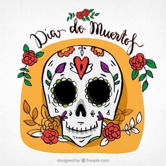 Hand getekende mexicaanse schedel achtergrond