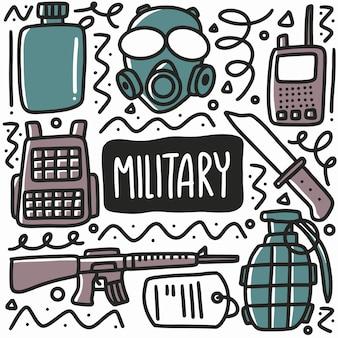Hand getekende militaire uitrusting doodle set met pictogrammen en ontwerpelementen