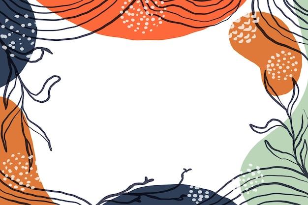 Hand getekende minimalistische vorm abstracte achtergrond met kleur pastel