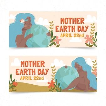 Hand getekende moeder aarde dag banner set