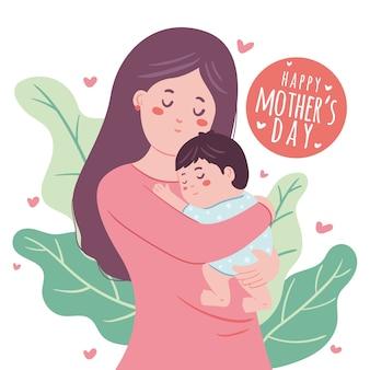 Hand getekende moeder haar kind knuffelen