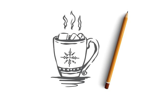 Hand getekende mok met warme drank concept schets