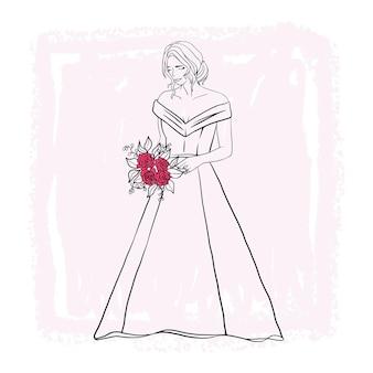 Hand getekende mooie bruid in trouwjurk lijn kunststijl