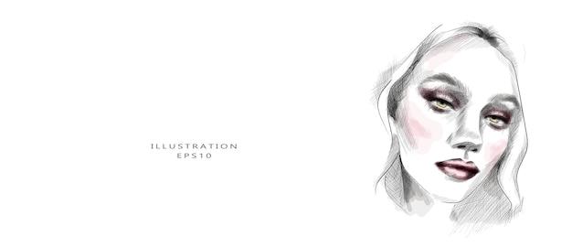 Hand getekende mooie jonge vrouw gezicht schets