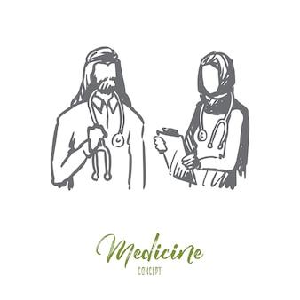 Hand getekende moslim arts en verpleegkundige in kliniek concept schets