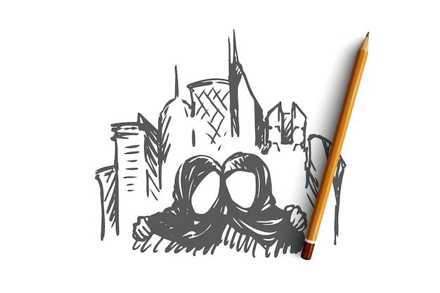 Hand getekende moslim vriendelijke mensen concept schets. geïsoleerde vectorillustratie