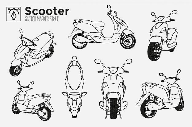 Hand getekende motorfiets scooter. verzameling van geïsoleerde motor weergaven. marker effect tekeningen. bewerkbare gekleurde silhouetten. premium.
