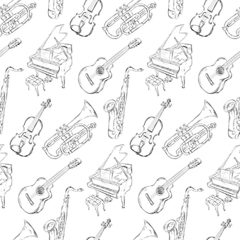 Hand getekende muziek instrument patroon achtergrond