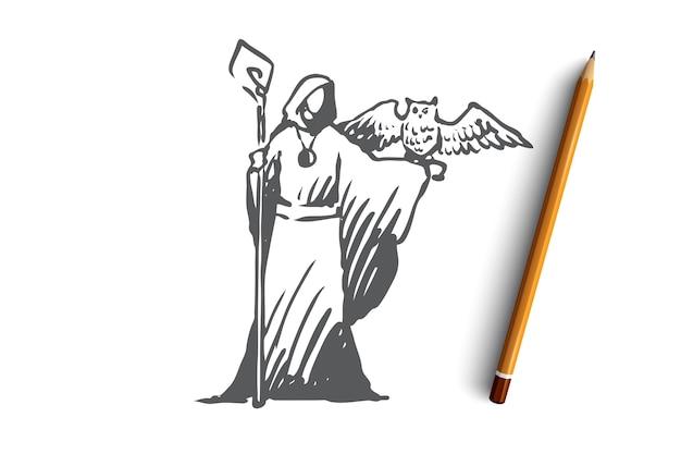 Hand getekende mystieke persoon met uil concept schets