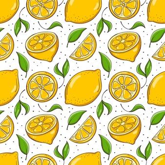 Hand getekende naadloze achtergrond met citroenen en bladeren.