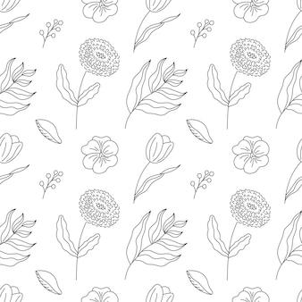 Hand getekende naadloze patroon bloemen
