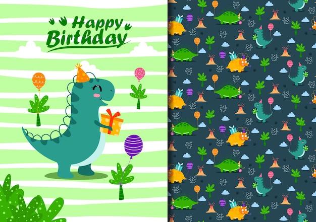 Hand getekende naadloze patroon dinosaurus gelukkige verjaardag
