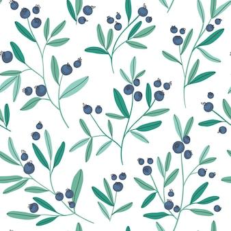 Hand getekende naadloze patroon met bosbessentakken en bladeren
