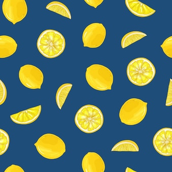 Hand getekende naadloze patroon met citroenen, geheel en in stukjes gesneden op blauwe achtergrond