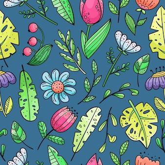 Hand getekende naadloze patroon met doodles. bloemen en planten.