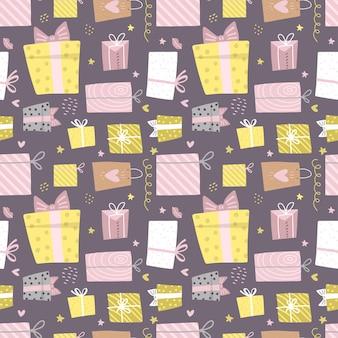 Hand getekende naadloze patroon met doos en confetti harten
