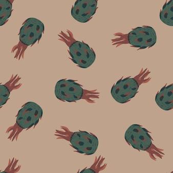 Hand getekende naadloze patroon met eenvoudige bleke blauwe pitahaya's