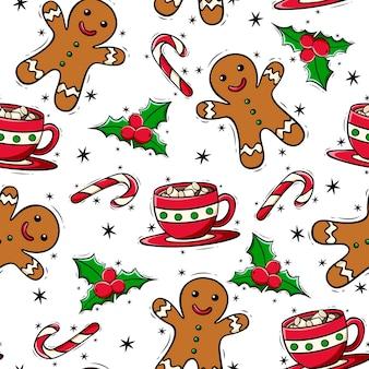 Hand getekende naadloze patroon met kerst dingen in doodle stijl