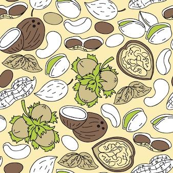 Hand getekende naadloze patroon met noten
