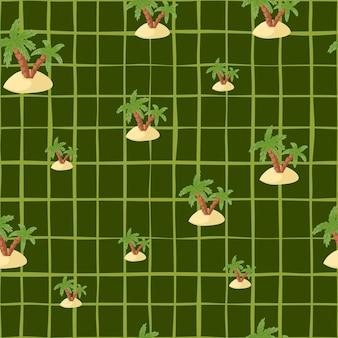 Hand getekende naadloze patroon met willekeurig eiland en palm silhouetten print. groene geruite achtergrond.