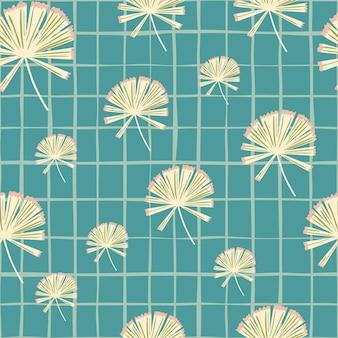 Hand getekende naadloze patroon met willekeurige doodle palm licuala vormen