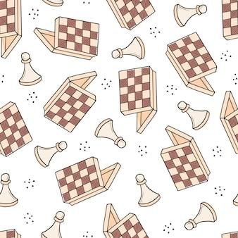 Hand getekende naadloze patroon van cartoon schaakspel stukken