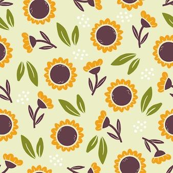 Hand getekende naadloze patroon van eenvoudige zonnebloemen
