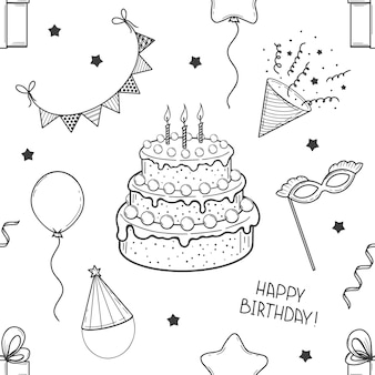 Hand getekende naadloze patroon van feestelijke elementen. gefeliciteerd. taart, vlaggen, masker, ballon, geschenkdoos. schetsen. vector illustratie.