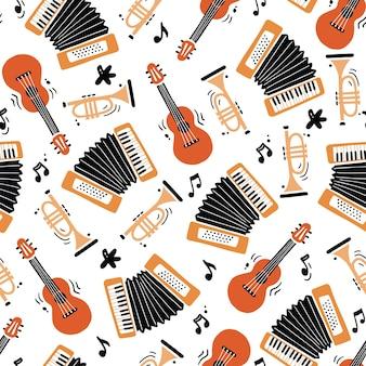 Hand getekende naadloze patroon van muziekinstrument. platte schetsstijl. Premium Vector