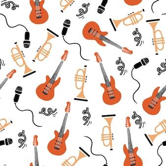 Hand getekende naadloze patroon van muziekinstrument. platte schetsstijl.