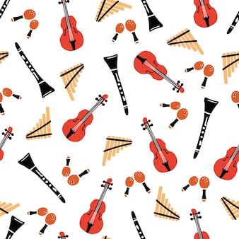 Hand getekende naadloze patroon van muziekinstrumenten