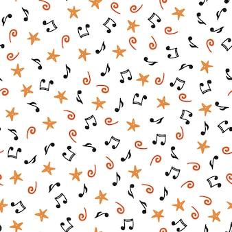 Hand getekende naadloze patroon van muzieknoten. platte schetsstijl.