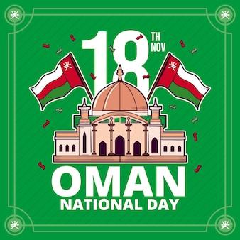 Hand getekende nationale dag van oman illustratie