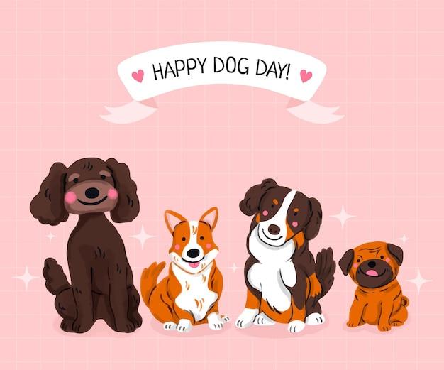 Hand getekende nationale hondendag illustratie