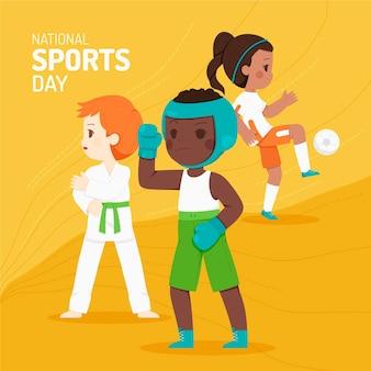 Hand getekende nationale sportdag illustratie