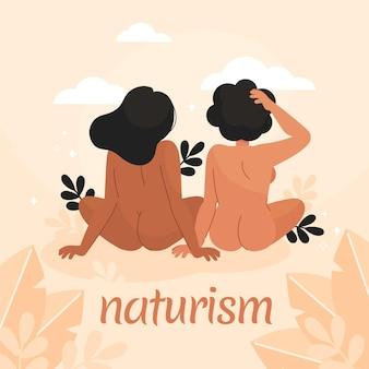 Hand getekende naturisme concept illustratie