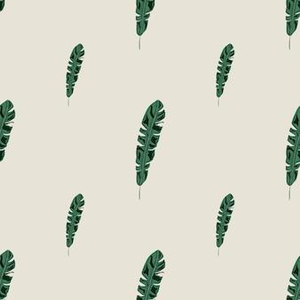 Hand getekende natuur jungle naadloze patroon met doodle groene palm blad sieraad. grijze lichte achtergrond. platte vectorprint voor textiel, stof, cadeaupapier, behang. eindeloze illustratie.