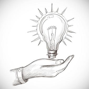 Hand getekende nieuwe idee innovatie concepten gloeilamp schets