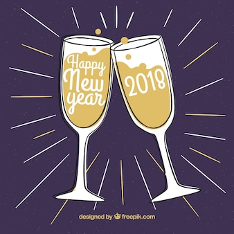 Hand getekende nieuwe jaar toast achtergrond