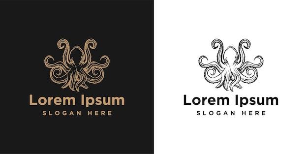 Hand getekende octopus logo inspiratie geïsoleerd op een witte achtergrond