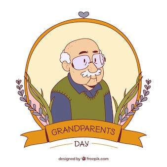 Hand getekende opa illustratie