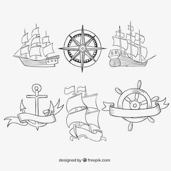 Hand getekende oude schepen
