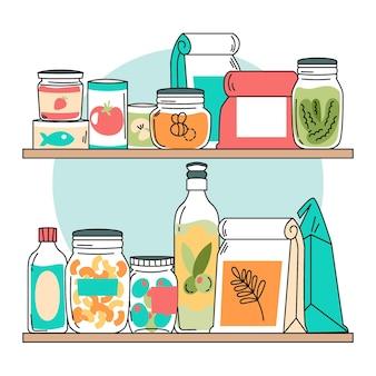 Hand getekende pantry met verschillende voedingsmiddelen collectie
