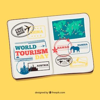 Hand getekende paspoort wit postzegels