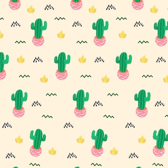 Hand getekende patroon cactus sjabloon