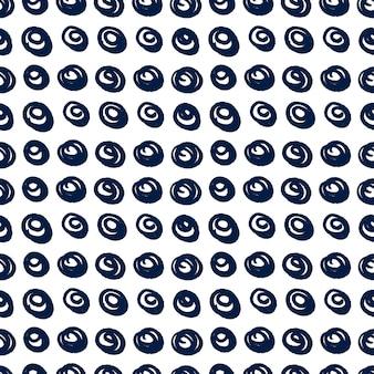Hand getekende patroon met vector doodle cirkels verf penseel textuur, abstracte illustratie. naadloze patroon vector in zwarte, witte kleur.