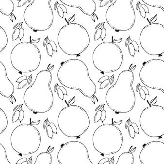 Hand getekende peren patroon. gestileerde naadloze achtergrond met lineaire peren en kornoelje bessen.