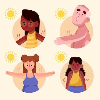 Hand getekende persoon met zonnebrand set